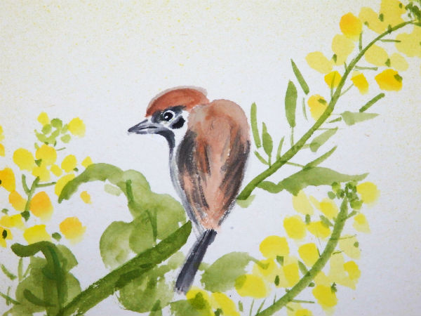 墨彩画の雀2